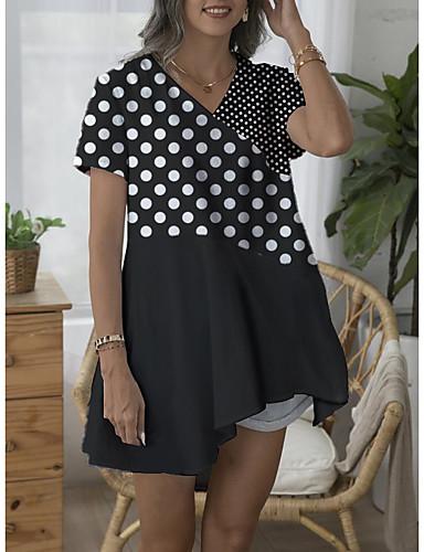저렴한 여성 상의-여성용 도트무늬 비대칭 블라우스 일상 V 넥 블랙