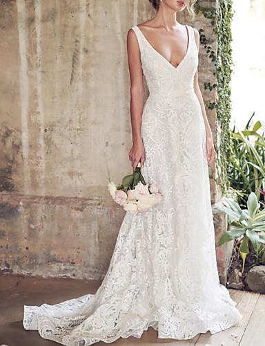 olcso Menyasszonyi ruhák-A-vonalú Esküvői ruhák V-alakú Kápolna uszály Csipke Ujjatlan Χώρα Sexy Színes menyasszonyi ruhák val vel Csipke rész Rátétek 2020