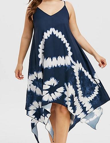 cheap Plus Size Dresses-Women's A-Line Dress Knee Length Dress - Sleeveless Floral Summer V Neck Casual 2020 Purple Green Navy Blue L XL XXL XXXL XXXXL XXXXXL