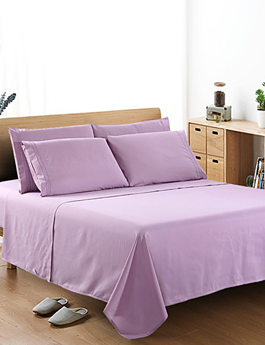 cheap Sheet Sets& Pillowcases-Bedding Set Sheet Set Fitted Sheet Size 4 PCS White Gray Flat Sheet Brushed Microfiber Silky Bedding Collection Sheet and Pillowcases Single Full Queen King Cal-King