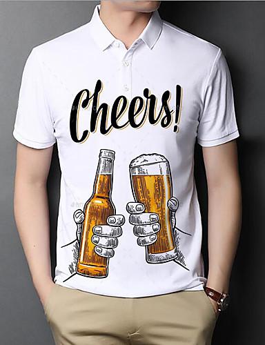 cheap Men's Clothing-Men's Polo Graphic Beer Letter Short Sleeve Daily Tops Basic Elegant White
