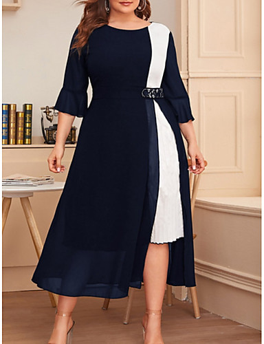 cheap Plus Size Dresses-Women's A-Line Dress Midi Dress - 3/4 Length Sleeve Color Block Summer Casual 2020 Black Wine Navy Blue XL XXL XXXL XXXXL