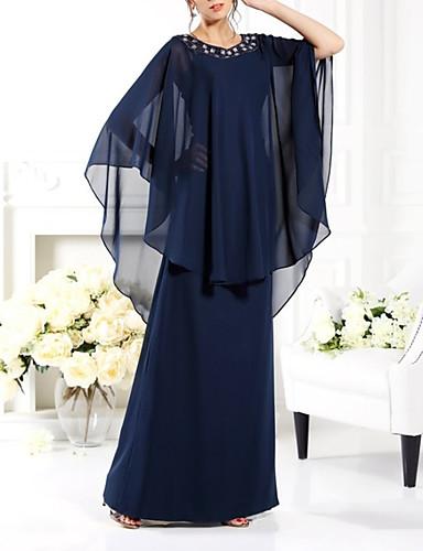 preiswerte Brautmutter Kleider-Eng anliegend Brautmutterkleid Elegant Schmuck Boden-Länge Chiffon Halbe Ärmel mit Perlenstickerei 2020