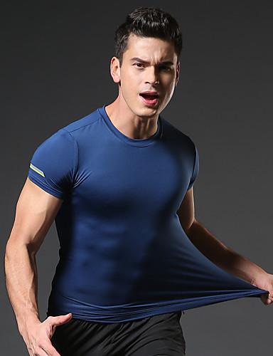billige Sports Athleisure-Herre Løbe-T-shirt Grundlag Kortærmet Elastin Åndbart Hurtigtørrende Svedtransporende Gym træning Løb Vandring Fitness Jogging Sportstøj T-Shirt Hvid Sort Mørkegrå Blå Mørkeblå Grå Sportstøj Elastisk