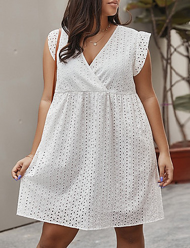 cheap Plus Size Dresses-Women's A-Line Dress Short Mini Dress - Sleeveless Solid Color Summer V Neck Casual Cotton Loose 2020 White XL XXL XXXL XXXXL