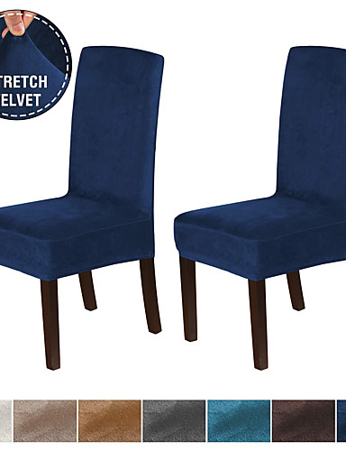 cheap Chair Cover-1 Set of 2 Pieces Velvet Dining Chair Covers Stretch Chair Covers for Dining Room Parson Chair Slipcovers Chair Protectors Covers Dining Soft Thick Solid Velvet Fabric Washable