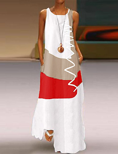 voordelige Nieuwe collectie-Dames Grote maten Maxi-jurk - Mouwloos Kleurenblok Print Zomer Informeel Dagelijks Feestdagen 2020 Wit blauw Rood Khaki S M L XL XXL XXXL XXXXL XXXXXL