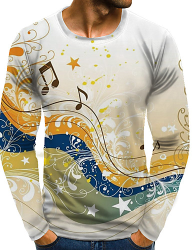 cheap Men's Plus Sizes-Men's Graphic Print T-shirt Street chic Exaggerated Daily Going out Rainbow