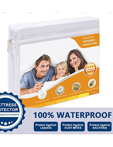 cheap Sheet Sets& Pillowcases-Mattress Protector Fitted Sheet Waterproof Hypoallergenic Deep Pocket Fitted Sheet 100%Waterproof Vinyl Free Anti-Dust Mite and Soft Breathable Single/Full/Queen/King (1 pc)