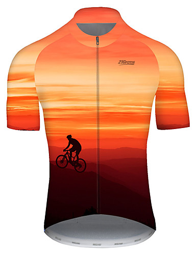 cheap Cycling Jerseys-21Grams Men's Short Sleeve Cycling Jersey Nylon Polyester Red / Yellow 3D Gradient Bike Jersey Top Mountain Bike MTB Road Bike Cycling Breathable Quick Dry Ultraviolet Resistant Sports Clothing