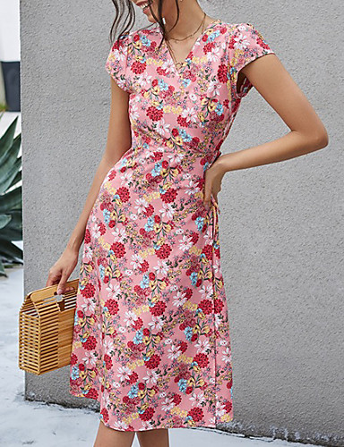 cheap New in Dresses-Women's A-Line Dress Knee Length Dress - Short Sleeves Floral Summer Work 2020 Blushing Pink S M L XL