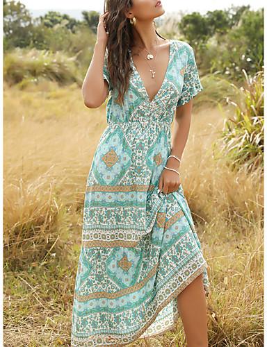 Χαμηλού Κόστους Για νεαρές γυναίκες-Γυναικεία Φόρεμα ριχτό από τη μέση και κάτω Μακρύ φόρεμα - Κοντομάνικο Στάμπα Στάμπα Καλοκαίρι Λαιμόκοψη V Μπόχο 2020 Θαλασσί Τ M L XL