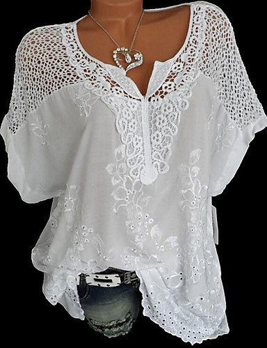 cheap Women's Blouses & Shirts-Women's Plus Size Blouse Solid Colored Lace Floral V Neck Tops Loose Lace Cotton Basic Basic Top White Black Blue