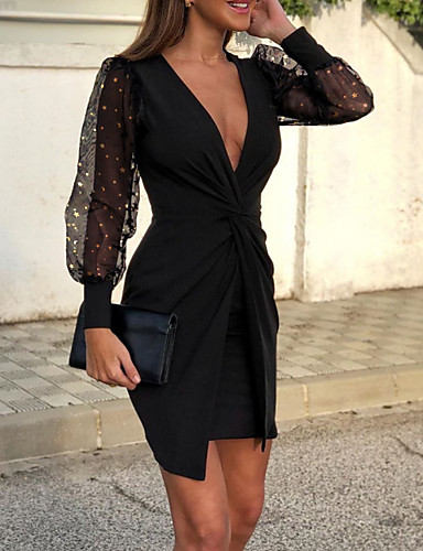 cheap Special Occasion Dresses-Sheath / Column Sexy Wedding Guest Cocktail Party Dress V Neck Long Sleeve Short / Mini Polyester with Draping Pattern / Print 2020