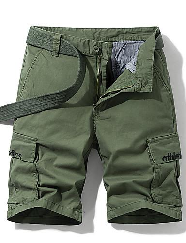 povoljno Muške hlače-Muškarci Osnovni Dnevno Kratke hlače Cargo hlače Hlače - Jednobojni Slovo Vezeno Prozračnost Crn Plava Red US34 / UK34 / EU42 / US36 / UK36 / EU44 / US40 / UK40 / EU48