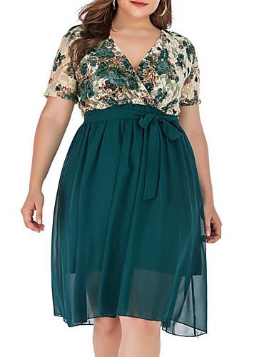 cheap Plus Size Dresses-Women's A-Line Dress Knee Length Dress - Short Sleeve Floral Summer V Neck Cotton 2020 Green XL XXL XXXL XXXXL XXXXXL