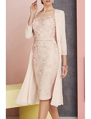 cheap With Jackets & Wraps-Sheath / Column Mother of the Bride Dress Elegant Vintage Plus Size Bateau Neck Knee Length Chiffon Lace 3/4 Length Sleeve with Appliques 2020 / See Through Mother of the groom dresses