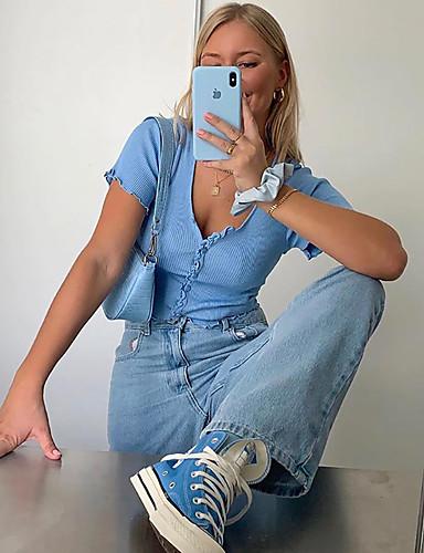 رخيصةأون للشابات-نسائي بلوزة لون سادة رقبة دائرية قمم نحيل مثيرة القمة الأساسية أزرق أرجواني أصفر