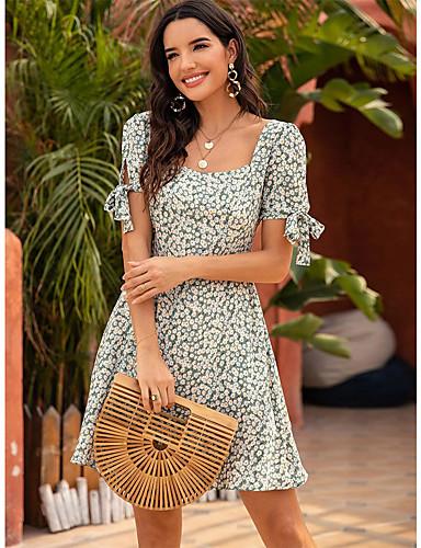 preiswerte Für Junge Frauen-Damen Etuikleid Minikleid - Kurzarm Blumen Druck Sommer Quadratischer Ausschnitt Freizeit Sexy Festtage Urlaub 2020 Gelb Grün S M L XL
