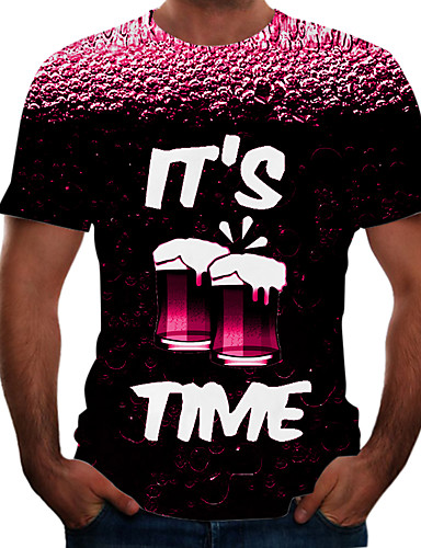 Beloved Men Fashional Rounded Collar Letter Printed Casual Short Sleeve 3D Printed Casual T Shirt Photo Color S