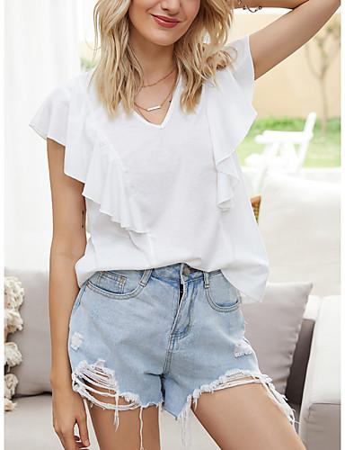 Χαμηλού Κόστους Για νεαρές γυναίκες-Γυναικεία Μπλούζα Μονόχρωμο Με Βολάν Λαιμόκοψη V Άριστος Βασικό Κομψό Βασική κορυφή Λευκό