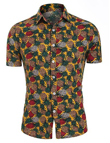 povoljno Muške košulje-Muškarci Voće Ananas Print Majica Havajski Dnevno purpurna boja / Bijela / Djetelina