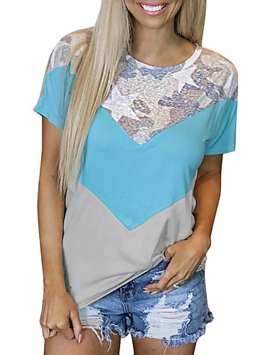 cheap Women's T-shirts-Women's T-shirt Color Block Camo / Camouflage Patchwork Round Neck Tops Basic Basic Top Blue Blushing Pink