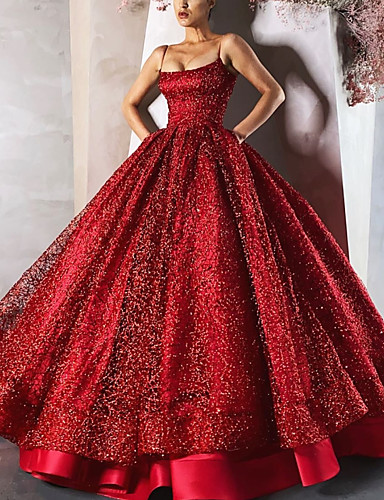 cheap Quinceanera Dresses-Ball Gown Luxurious Sparkle Engagement Formal Evening Dress Spaghetti Strap Sleeveless Floor Length Satin with Sequin Tier 2020
