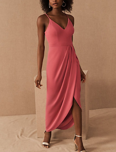 cheap Special Occasion Dresses-Sheath / Column Elegant Minimalist Party Wear Prom Dress V Neck Sleeveless Asymmetrical Spandex with Pleats Split 2020