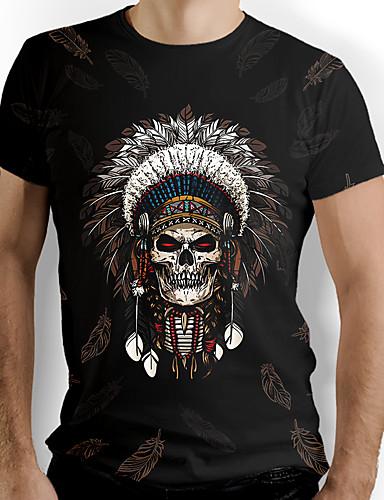 cheap Men's Clothing-Men's T shirt Graphic Skull Print Short Sleeve Daily Tops Basic Black