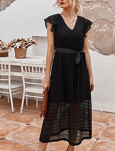 זול לנשים צעירות-בגדי ריקוד נשים שמלה עם כיווץ במותן שמלת מידי - שרוולים קצרים צבע אחיד קיץ צווארון V יום יומי 2020 לבן שחור S M L XL