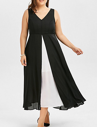 cheap Plus Size Dresses-Women's Chiffon Dress Midi Dress - Sleeveless Solid Color Summer V Neck Work Chinoiserie 2020 Black XL XXL XXXL XXXXL XXXXXL