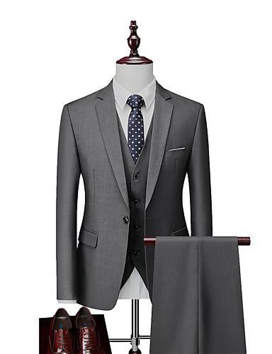 billige Dress-Herre Enkeltkneppet Hakkjakkeslag drakter Ensfarget Hvit / Svart / Blå US32 / UK32 / EU40 / US34 / UK34 / EU42 / US36 / UK36 / EU44