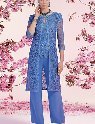 cheap Mother of the Bride Dresses-Jumpsuits Mother of the Bride Dress Elegant V Neck Floor Length Chiffon Lace 3/4 Length Sleeve with Sequin 2020