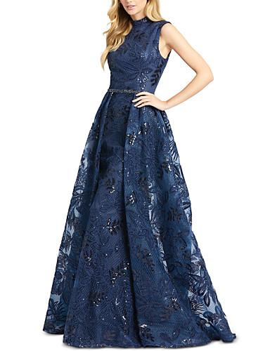 cheap Evening Dresses-A-Line Elegant Luxurious Engagement Formal Evening Dress High Neck Sleeveless Sweep / Brush Train Tulle with Sash / Ribbon Overskirt 2020