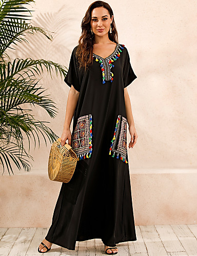 cheap Women's Dresses-Women's Plus Size Kaftan Dress Maxi long Dress - Short Sleeve Print Summer V Neck Casual Boho Daily Loose 2020 Black S M L XL XXL XXXL XXXXL XXXXXL
