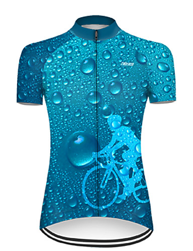 cheap Cycling Jerseys-21Grams Women's Short Sleeve Cycling Jersey Nylon Polyester Blue 3D Gradient Bike Jersey Top Mountain Bike MTB Road Bike Cycling Breathable Quick Dry Ultraviolet Resistant Sports Clothing Apparel