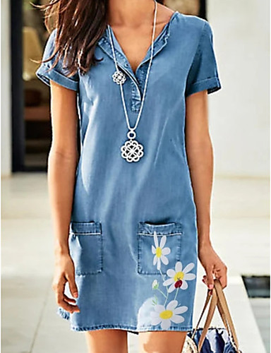 cheap New in Dresses-Women's Denim Dress Knee Length Dress - Short Sleeves Floral Summer V Neck Casual Daily 2020 Blue M L XL XXL XXXL