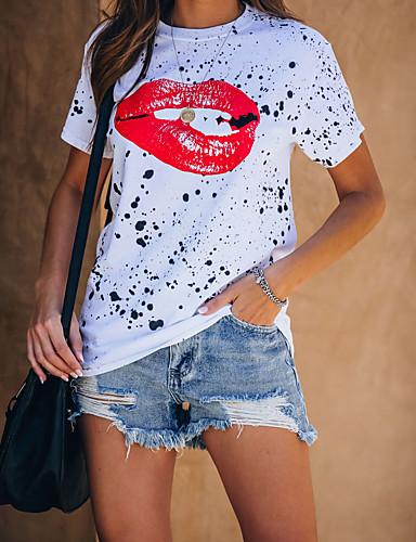 cheap Women's T-shirts-Women's T-shirt Graphic Print Round Neck Tops Basic Basic Top White