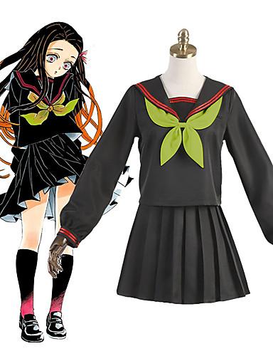 tanie Anime Cosplay-Zainspirowany przez Demon Slayer: Kimetsu no Yaiba Kamado Nezuko Anime Kostiumy cosplay Japoński Garnitury cosplay Mundurek szkolny Skarpety Krawat Kostium Na Damskie Dla dziewczynek