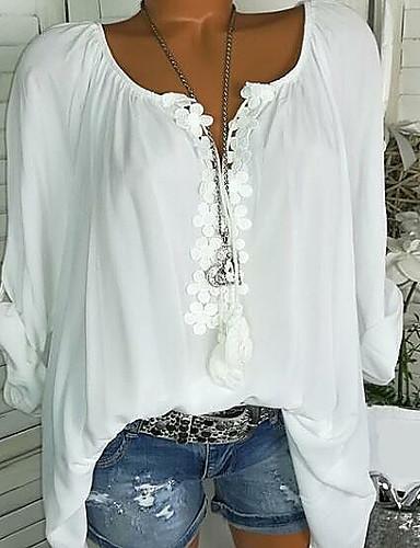 cheap Women's Blouses & Shirts-Women's Daily Plus Size Blouse Geometric Lace Ruffle Long Sleeve Tops U Neck White Black Blue