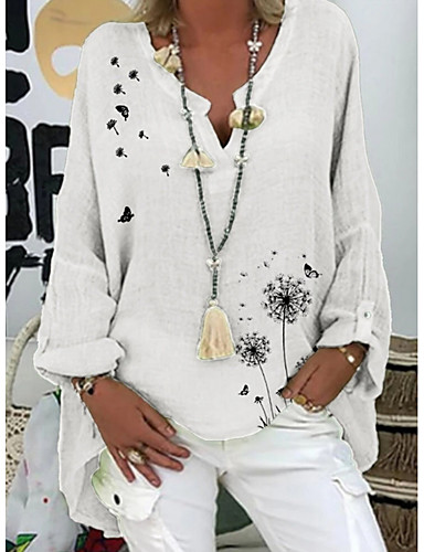 Χαμηλού Κόστους Γυναικείες Μπλούζες-Γυναικεία Μπλούζα Φλοράλ Άριστος Λαιμόκοψη V Καθημερινά Καλοκαίρι Λευκό Βυσσινί Ανθισμένο Ροζ Βαθυγάλαζο Τ M L XL 2XL 3XL