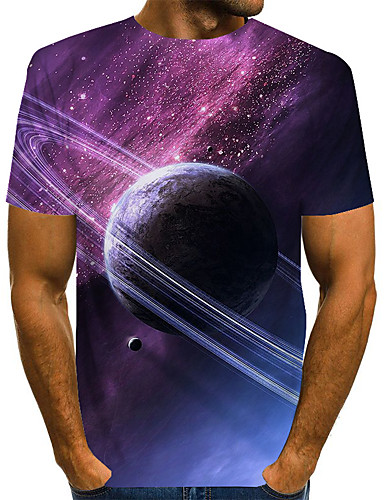 cheap Men's Tops-Men's Galaxy Graphic Space Print T-shirt Basic Exaggerated Daily Purple / Green
