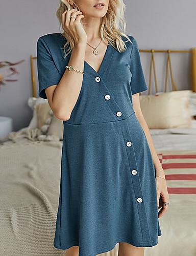 preiswerte Für Junge Frauen-Damen A-Linie Kleid Minikleid - Kurze Ärmel Volltonfarbe Sommer Büro 2020 Blau S M L XL