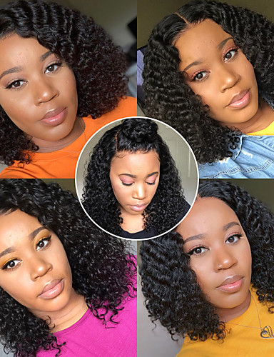 hesapli Gerçek Saç Örme Peruklar-Kökten Saç 13x6 Kapanma Peruk Bob Saç Kesimi Asimetrik Saç Kesimi Derin ayrılık stil Düz Brezilya Saçı Derin kıvırcık Doğal Peruk % 150 Saç yoğunluğu Bebek Saçlı Doğal saç çizgisi Afrp Amerikan Peruk