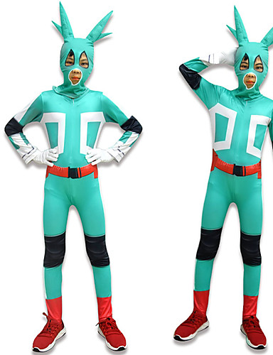 cheap Anime Costumes-Inspired by My Hero Academia Boko No Hero izuku midoriya Anime Cosplay Costumes Japanese Cosplay Suits Leotard / Onesie Gloves Hat For Boys' Girls'
