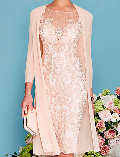 cheap Mother of the Bride Dresses-Two Piece Sheath / Column Mother of the Bride Dress Elegant Jewel Neck Knee Length Lace 3/4 Length Sleeve with Embroidery 2020