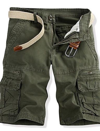 olcso Férfi nadrágok és rövidnadrágok-Férfi Alap Napi Rövidnadrágok Cargo nadrágok Nadrág - Egyszínű Fekete Sárga Katonai zöld US38 / UK38 / EU46 / US40 / UK40 / EU48 / US42 / UK42 / EU50