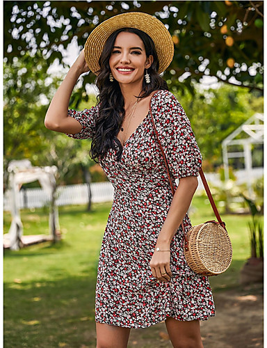 Χαμηλού Κόστους Για νεαρές γυναίκες-Γυναικεία Φορέματα σιφόν Μίνι φόρεμα - Μισό μανίκι Γεωμετρικό Στάμπα Καλοκαίρι Λαιμόκοψη V Καθημερινό 2020 Ρουμπίνι Τ M L XL