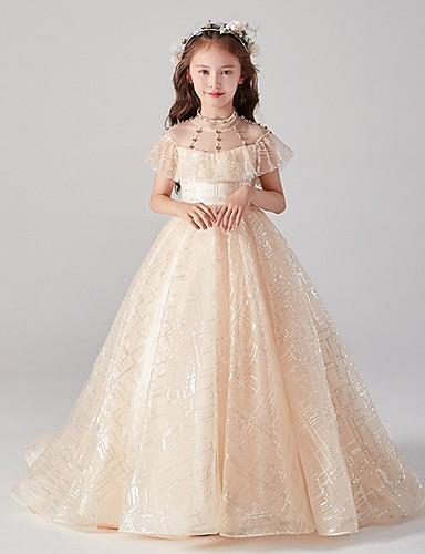 baratos Vestidos para Damas de Honra Junior-Princesa / De Baile Longo Tule Vestido de Daminha de Honra com Miçangas